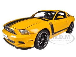2013 Ford Mustang Boss 302 Yellow Black Stripes 1/18 Diecast Model Car Shelby Collectibles SC451