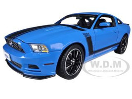 2013 Ford Mustang Boss 302 Blue Black Stripes 1/18 Diecast Model Car Shelby Collectibles SC450