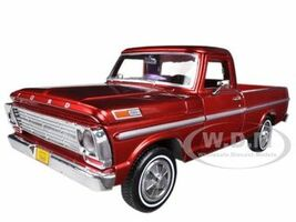1969 Ford F-100 Pickup Truck Burgundy 1/24 Diecast Car Model Motormax 79315