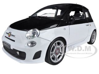 Fiat Abarth 500 White/Black 1/18 Diecast Car Model Motormax 79168
