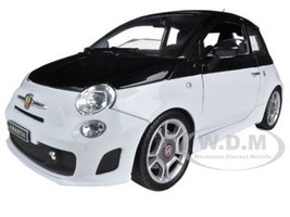 Fiat Abarth 500 White Black 1/18 Diecast Model Car Motormax 79168