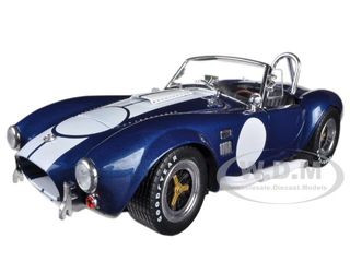 1965 Shelby Cobra 427 S/C Blue With Printed Carroll Shelby Signature 1/18 Diecast Model Car Shelby Collectibles 121-1