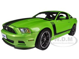 2013 Ford Mustang Boss 302 Green Black Stripes 1/18 Diecast Model Car Shelby Collectibles SC453