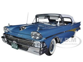 1958 Ford Fairlane 500 Closed Convertible Silverstone Blue / White 1/18 Diecast Car Model Sunstar 5282