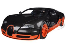 Bugatti Veyron Super Sport Edition Carbon Fiber Black With Orange 1/18 Diecast Car Model Autoart 70936