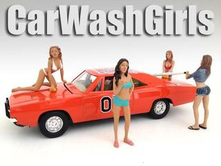 Car Wash Girls Figure Set of 4pc For 1:18 Scale Models American Diorama 23842 23843 23844 23845
