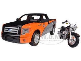 2010 Ford F-150 STX Orange/Black/Silver 1/27 & 1/24 Harley Davidson FLSTF Fat Boy Motorcycle Maisto 32187