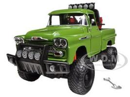1958 Chevrolet Apache Fleetside Pickup Truck Off Road Green 1/24 Diecast Model Motormax 79135