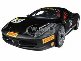 Ferrari 458 Challenge Matt Black #12 1/18 Diecast Car Model Hotwheels BCT90