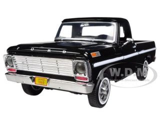 1969 Ford F-100 Pickup Truck Black 1/24 Diecast Model Motormax 79315