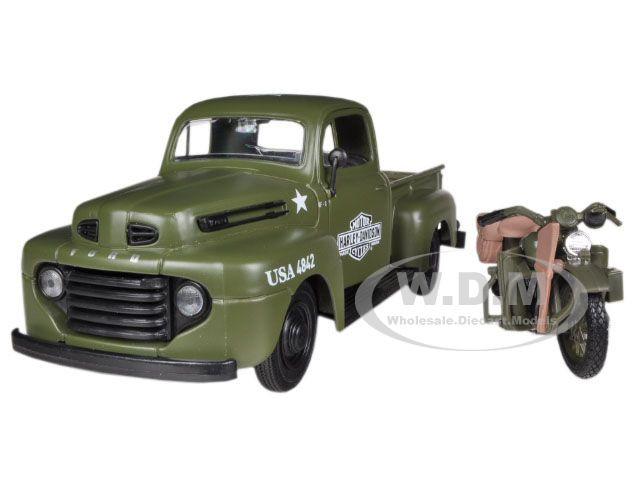 1948 Ford F-1 Pickup Truck Harley Davidson Flat Green With 1942 Harley Davidson WLA Flathead Motorcycle 1/25 Maisto 32185