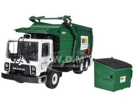Mack Waste Management TerraPro Front Load Refuse Garbage Truck with Bin 1/34 Diecast Model First Gear 10-4001