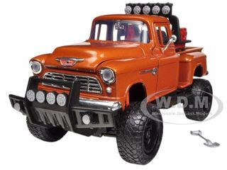 1955 Chevrolet 5100 Stepside Pickup Truck Off Road Orange 1/24 Diecast Model Motormax 79133