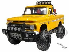 1966 Chevrolet C10 Fleetside Pickup Truck Off Road Yellow 1/24 Diecast Model Motormax 79131