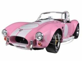 1965 Shelby Cobra 427 S/C Pink With Printed Carroll Shelby Signature On The Trunk 1/18 Diecast Car Model Shelby Collectibles 114