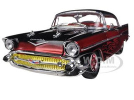 1957 Chevrolet Bel Air Hard Top Tom Kelly Special Edition Candy Apple Red / Black Metallic 1/24 Diecast Car Model M2 Machines 40300-41A
