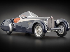 1938 Bugatti 57 SC Corsica Roadster Blue Crocodile Leather Interior Limited Edition 3000 pieces Worldwide 1/18 Diecast Model Car CMC 136