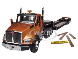 Kenworth T880 Tri Axle Lowboy Trailer Aztec Gold / Black 1/50 Diecast Model First Gear 50-3284