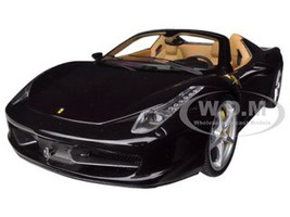 Ferrari 458 Spider F1 Glossy Black Elite Edition 1/18 Diecast Car Model by Hotwheels BCJ90 13634