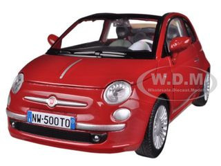 Fiat 500 Nuova Cabrio Red 1 24 Diecast Model Car By Motormax