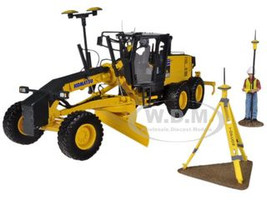 Komatsu GD655-5 Motor Grader with Ripper and Figure with GPS Base and Rover 1/50 Diecast Model First Gear 50-3264T