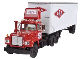 Mack R Model With 28' Pop Trailer APA Transport 1/64 Diecast Model First Gear 60-0255