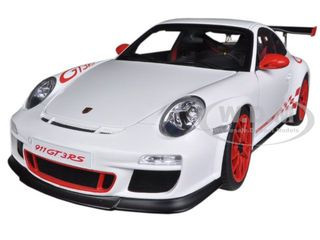 Porsche 911 (997) GT3 RS 3 8 Carrera White With Guards Red Stripes 1/18  Diecast Model Car by Autoart