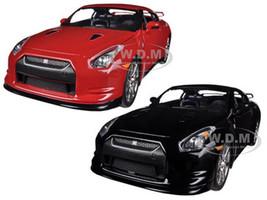 2009 Nissan GT-R R35 Red & Black 2 Cars Set 1/24 Diecast Car Model Jada 96811