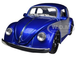 1959 Volkswagen Beetle Blue / Silver 1/24 Diecast Car Model Jada 91697