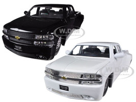 1999 Chevrolet Silverado Dooley White & Black 2 Trucks Set 1/24 Diecast Model Cars Jada 90145