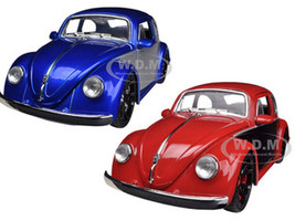 1959 Volkswagen Beetle Blue & Red 2 Cars Set 1/24 Diecast Car Models Jada 91697