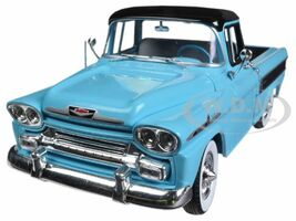 1958 Chevrolet Apache Cameo Pickup Truck Tartan Turquoise Black Top Stripes Limited Edition 5000 pieces Worldwide 1/24 Diecast Model Car M2 Machines 40300-43A