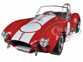 1965 Shelby Cobra 427 S/C Red with White Stripes With Printed Carroll Shelby Signature  1/18 Shelby Collectibles SC122-1