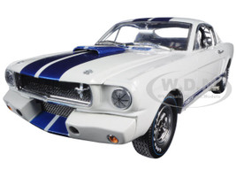 1965 Ford Shelby Mustang GT 350R White with Blue Stripes With Carroll Shelby Signature 1/18 Shelby Collectibles SC168-1