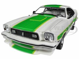 1978 Ford Mustang II Cobra II Free Wheelin White with Green Billboard Stripes 1/18 Diecast Car Model Greenlight 12895