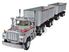 Mack R With Dual 22' End Dump Trailers Silver 1/64 Diecast Model First Gear 60-0269