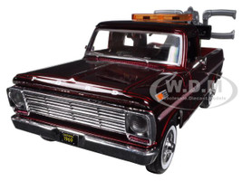 1969 Ford F-100 Tow Truck Burgundy 1/24 Diecast Model Motormax 75345