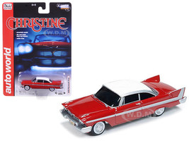 1958 Plymouth Fury Red White Top Christine 1983 Movie 1/64 Diecast Model Car Autoworld AWSS6401
