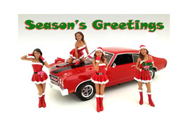 Christmas Girls 4 pieces Figure Set for 1:18 Scale Diecast Model Cars American Diorama 23848