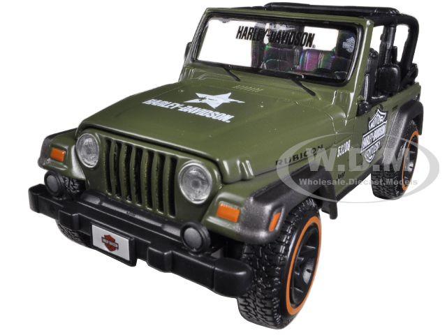 Jeep Wrangler Rubicon Harley Davidson Green 1/27 Diecast Model Maisto 32190