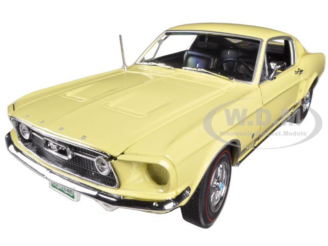 1967 Ford Mustang 2+2 GT Aspen Gold Mustang Fifty Years Anniversary American Muscle Series 1/18 Diecast Model Car Autoworld AMM1038