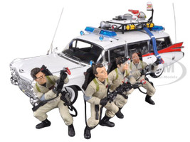 """1959 Cadillac Ambulance Ecto-1 From """"Ghostbusters 1"""" Movie 30th Anniversary with 4 Figures Elite Edition 1/18 Hotwheels BLY25"""