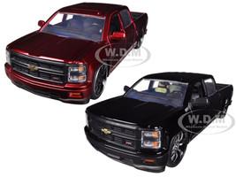 2014 Chevrolet Silverado Custom Edition Pickup Truck Black & Red 2 Trucks Set 1/24 Diecast Models Jada 97026