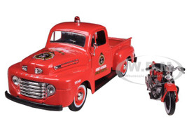 1948 Ford F-1 Pickup Truck Harley Davidson Fire With 1936 El Knucklehead Harley Davidson Motorcycle 1/24 Diecast Model Maisto 32191