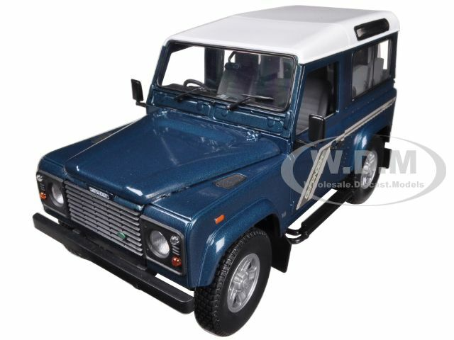 Land Rover Defender 90 Station Wagon Blue 1/18 Diecast Car Model Universal Hobbies 3886