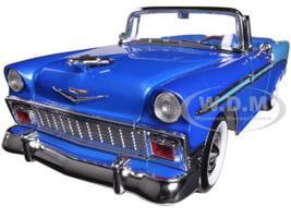 1956 Chevrolet Bel Air Convertible Blue 1/18 Diecast Car Model Road Signature 92128
