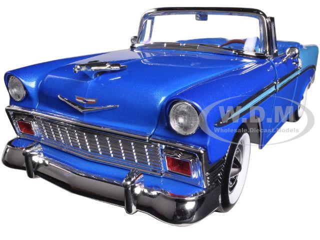 1956 Chevrolet Bel Air Convertible Dark Blue Metallic Light Blue 1/18 Diecast Model Car Road Signature 92128
