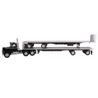 Mack R Truck Black With Two 48ft Flatbed Trailers Stacked 1/64 Diecast Model First Gear 60-0291