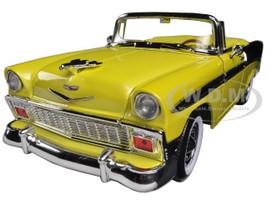 1956 Chevrolet Bel Air Convertible Yellow/Black 1/18 Diecast Car Model Road Signature 92128