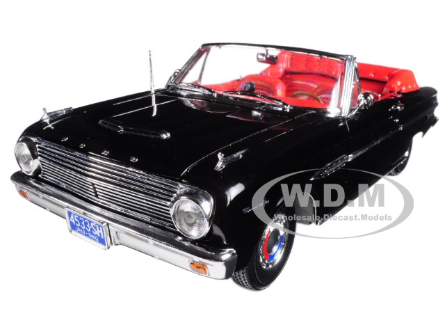 1963 Ford Falcon Open Convertible Raven Black 1/18 Diecast Model Car Sunstar 4533